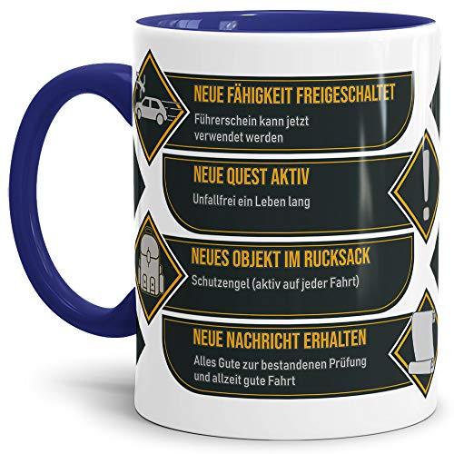 Tassendruck Spruch-Tasse zum Führerschein - Neue Fähigkeit - Innen & Henkel Dunkelblau - Mug/Cup/Becher/Lustig/Geschenk-Idee/Beste Qualität