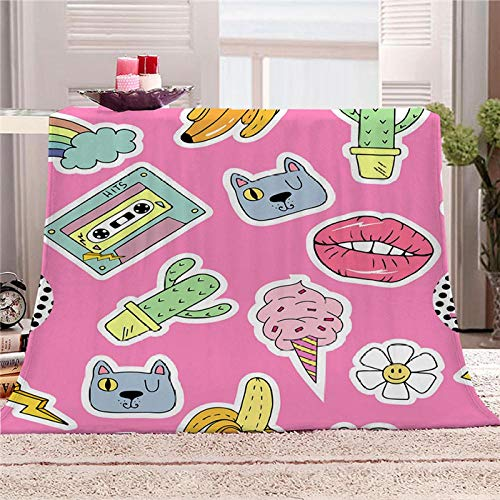 Bbaodan Throw Pink Pattern Fleece Blankets Brushed Microfiber Sherpa Cover Bedspread Cosy Bed Throws For Kids And Adults 70.9X78.7 Inch
