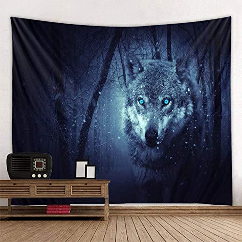 KHKJ Tapiz de Animal Sagrado de Lobo decoración Colgante de Pared León Lobo Tigre patrón de Fondo Tapiz Textil para el hogar A4 95x73cm