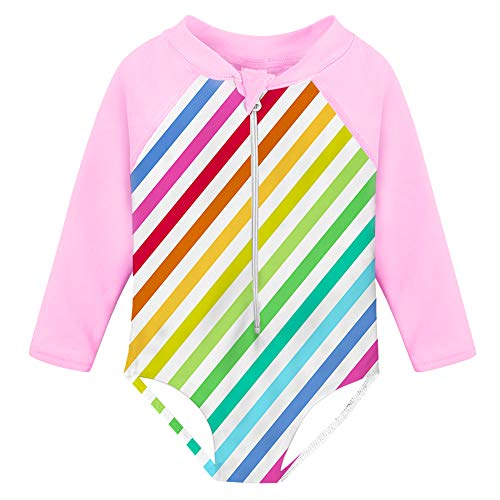 Fanient Baby Girls Rash Guard Swimsuit One Piece Long Sleeve UPF 50+ Rainbow Stripes Sunsuit Swimwear 1-2T