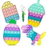 Cykapu 5 Pack Pop Fidget Sensory Toy Set, Fidget Sensory Bubble Stress Toy, Fidget Push Toy, Pop Silicone Fidget Stress Toys for Autistic Children Adult Squeeze Toy Autism Special Needs Anxiety Toys