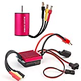 2435 4800KV 2mm Brushless Motor Waterproof Sensorless with 25A Brushless ESC Combo Set for 1/16 1/18 RC Car Truck Running Off-Road Vehicle by RCRunning (Red)