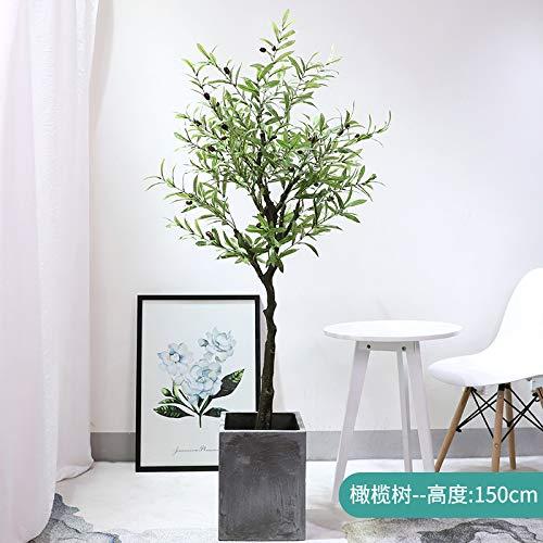 MyWheelieBin Simulation Pflanze Reisende Banane Simulation Baum Große Simulation Grünpflanze Indoor Wohnzimmer Gefälschte Blume Grünpflanze Großhandel Blumentopf 1,5 m Olivenbaum - ohne Zementbecken