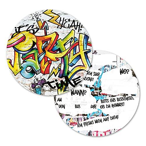12 Einladungskarten für Geburtstag und Partys, die Graffiti Karten sind die perfekten Einladungen für Jungen und Mädchen zum Kindergeburtstag und Anderen Feiern (Bunt/Rund)