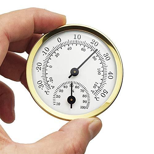 ZCFXGHH Mini Termómetro Y Medidor De Humedad para Interiores, Pequeño Termómetro Higrómetro Monitor De Temperatura Analógico para La Pared del Hogar, Invernadero, Incubadora, Sin Batería, Oro