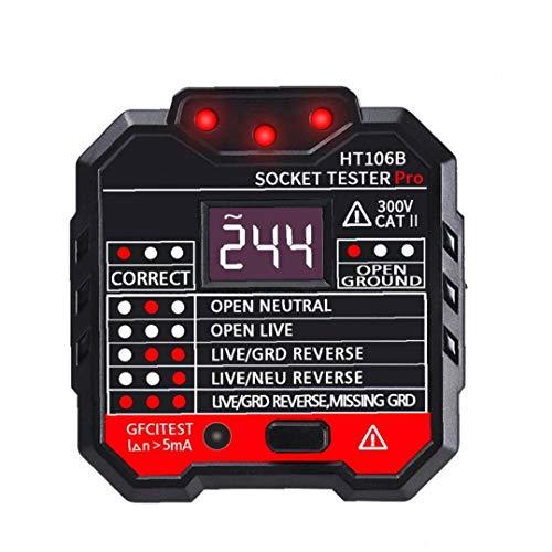 GGOOD Socket probador Digital eléctrico del Enchufe de Ht-106b de Red de fallo del Inspector con Pantalla LCD Enchufe de la UE, Indicador