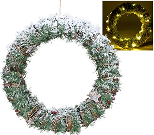 URBNLIVING Pre-Lit Christmas Wreath Decorated Warm White Led Lights Lighted Pine Home Decor 40cm