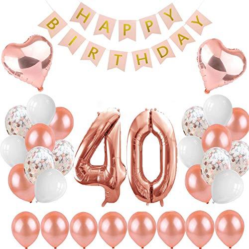 40 Geburtstag Frauen 40 Geburtstag Deko Luftballon 40 Geburtstag Frau Geburtstagsdeko 40 Frauen Happy Birthday Banner Helium Folie Ballon Latex Konfetti Ballon für Birthday Decorations Party Deko