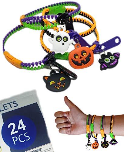 UpBrands Halloween Party Favor for Kids Zipper Bracelets Bulk Set, Kit for Birthday, Goodie Bags & Pinata Filler, Halloween Basket Stuffers, Fidget Toys, Sensory Friendship Jewelry (24 Pack)