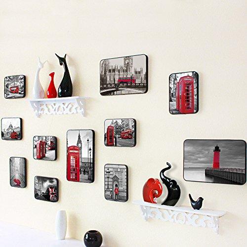 8. Fotolijst, wanddecoratie, woonkamer, wandfotokader, creatieve combinatie van geïntegreerde plank.