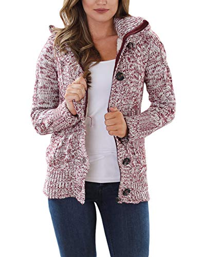 Happy Sailed Damen Langarm Strickjacke Cardigan Strickcardigan Hoodie Jacke mit Kapuze ,Rot,M