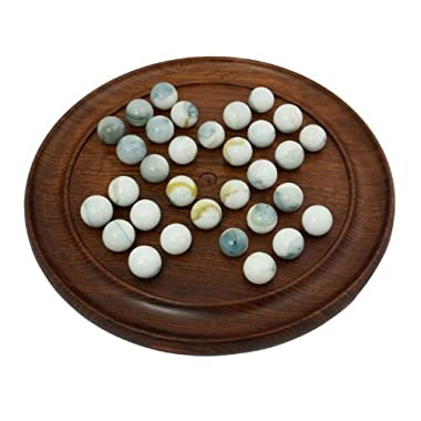 Solid Wood Solitaire Board Game with White Glass Marbles Dia 9 Inches. by RoyaltyRoute