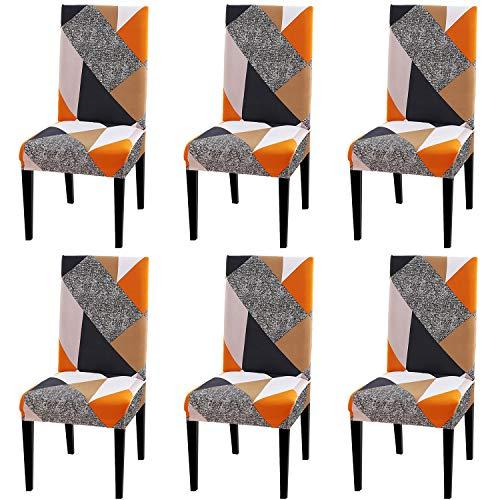 FUMEI Fundas de Sillas de Comedor, Elasticas y Lavables para Proteger Silla Modern Bouquet de la Boda, Hotel, Decor Restaurante (Plaza, Pack de 6)