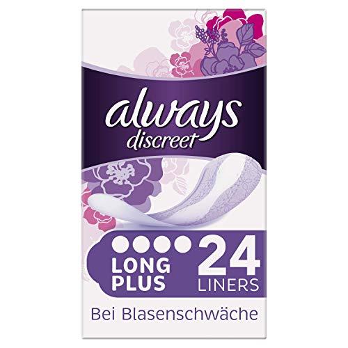 Always Discreet Long Plus - Compresas para incontinencia (24 compresas), protección discreta y alta absorción, neutralizador de olores