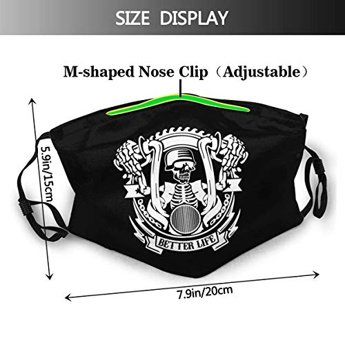YnimioHOB UnisexNoseClipFaceMouthCover3DPrint,Life Behind Bars Motorcycle Biker Unisex Dustproof Reusable Cloth Mouth FaceBandanasfor MenWomenTeens