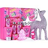 Bath Sets for Women - 9 Piece Bath & Body with Frosted Berry Twist,Includes Reindeer Souvenir, Body Lotion, Shower Gel, Christmas Tree, Bath Bomb, Sponge,Spa Gift Box for Her