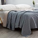 Mehrlagige Gaze-Decke Bettdecke Sofa Tagesdecke japanischen Stil 100 prozent Baumwolle, Gaze, Sommer-Steppdecke, Klima-Decke, einfarbige Decke für Betten Steppdecke, grau 200*230