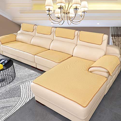 BK&MF Sofa Abdeckung Für Ledercouch, Super rutschfeste Sofa Dämpfung Couch überwurf Für Haustiere, Sofa Möbel Protector Separat Erhältlich-Creme Farben 70x70cm(28x28inch)