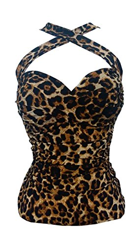Criss-Cross Leopard Print Halter Top pin-up (2XL) Black Brown
