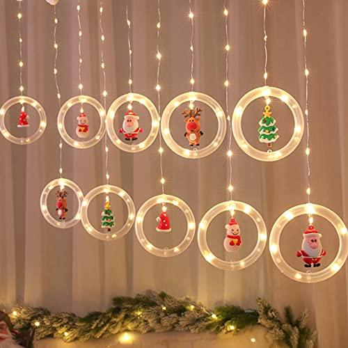 Mojoyce Cordão de luzes LED estrelas, enfeite de árvore de janela de Natal com luz branca quente USB, suprimentos de decoração de Natal para decoração de jardim ao ar livre