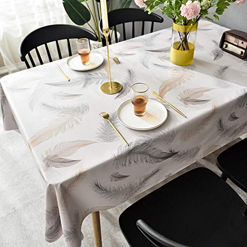 Nice-DoormatsTablecloth waterproof, anti-scald, oil-proof, table cloth desk Nordic coffee table table mat-Grey feather_110*160cm