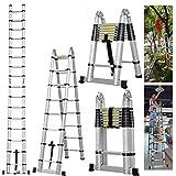 5M Multi-Purpose Aluminium Telescopic Ladder Extendable Step A Frame Ladder Heavy Duty UK