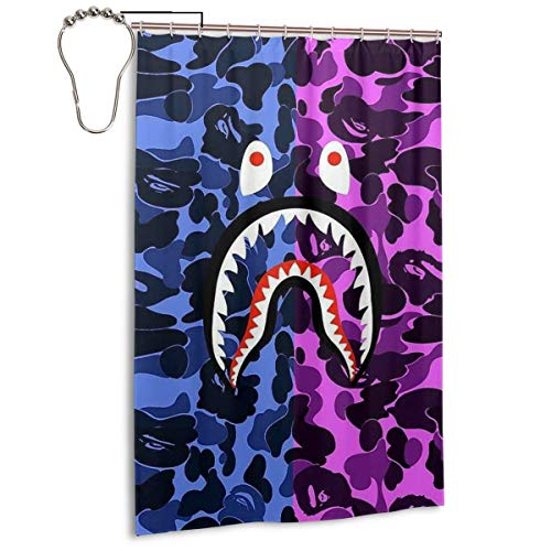 NA-1 Ba-pe Red Camouflage Shark Face Waterproof Polyester Fabric Bathroom Curtains Set with Hooks Modern Bathroom Decor(48 x 72 inch)