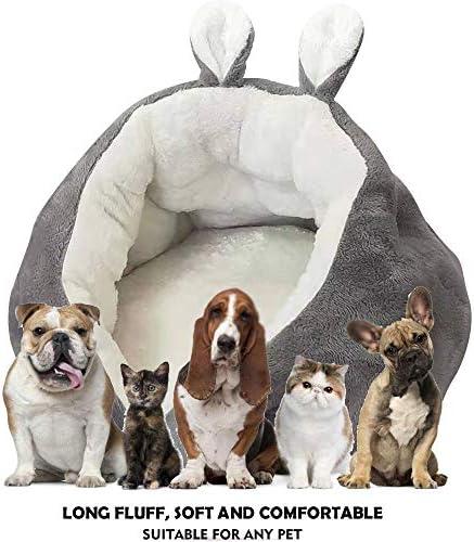 BLEVET Lit de Chat/Chien Sommeil Profond Chat CanapéPour l'Hiver Doux et Confortable Animal de Compagnie MZ127 (50 * 50 * 35CM, Grey)