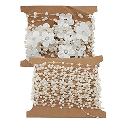 MagiDeal Fishing Line Pearl and Flower Bead Chain Trimming DIY Decoration Beige by MagiDeal