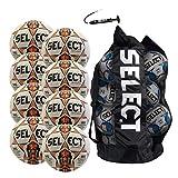 SELECT Diamond Soccer Ball, 8-Ball Team Pack with Duffle Ball Bag and Ball Pump, White/Orange, Size 5
