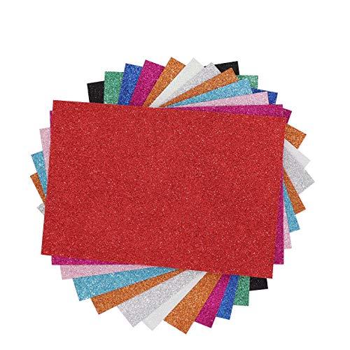 12 Hojas Goma Eva Adhesivas con Purpurina, A4 2mm para DIY Decorar, Diseñar y Manualidades