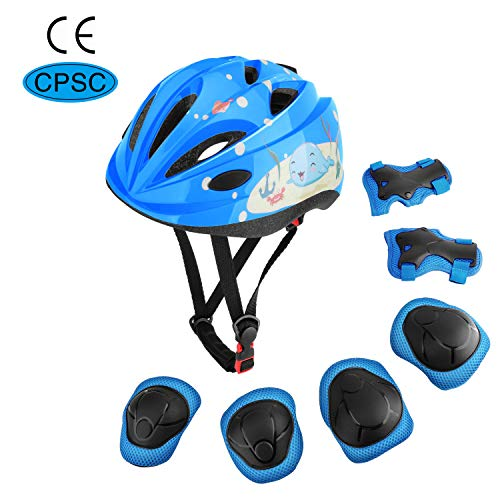 MoKo Schoner Set für Kinder, Verstellbar Helm Knieschoner Ellbogenschoner Handgelenkschoner für Skateboarden Inline Roller Eislaufen Radsport Radfahren BMX Fahrrad Roller für Jungen Mädchen - Blau
