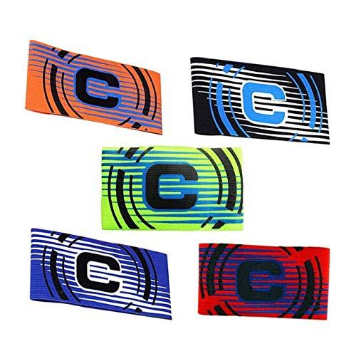 WEEYEE - Brazalete elástico de capitán para adultos y jóvenes, 5 paquetes de colores, brazalete elástico de camuflaje para tamaño ajustable, apto para múltiples deportes incluyendo fútbol