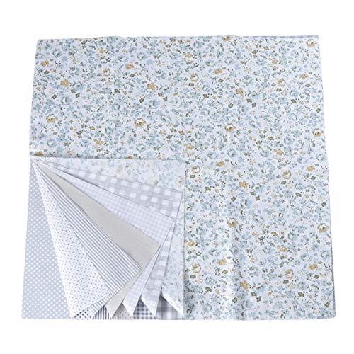 EXCEART 7 hojas de tela de algodón floral cuadrados de tela floral tela de acolchado para patchwork diy costura scrapbooking 50x50cm (gris)