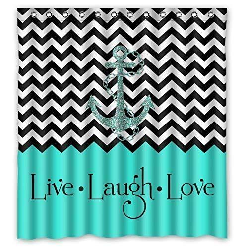Duschvorhang Hipster Zitate Live Love Lachen in Türkis Colorblock Wave Strips mit Anker Thema Malerei Badezimmer Vorhang Dusche Polyester Badezimmer