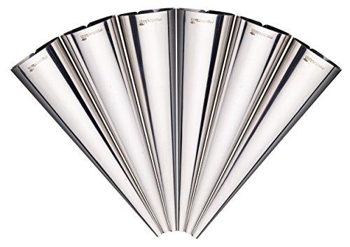 MasterClass Conjunto de 6 Moldes de Cuerno Crema de Acero Inoxidable, Multicolor, 40x7.17x1.9 cm