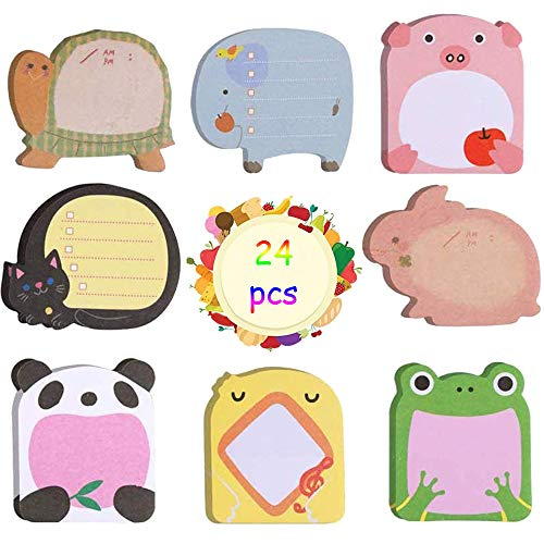 Mini Note Adesive, 24 Copie Colornote Adesive, Note appiccicose del Frigorifero, Note Super Adesive per Scuola, Promemoria per Ufficio, Regali per Bambini Alunni (8 Stili)