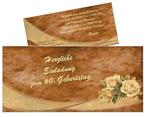 schöne Geburtstagseinladungen für Erwachsene originell - in JEDES Alter ändern - Wunschtext - 40 Stück DIN lang (21 x 9,9 cm)
