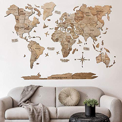 3D Push Pin Wood World Map Wall Art Large Wall Decor - World Travel Map ALL Sizes (M L XL) Any Occasion Gift Idea - Wall Art For Home & Kitchen or Office