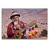 CALVENDO Cuzco Toile de qualité supérieure 120 x 80 cm Musicale routière – Tableau sur châssis – Impression sur...