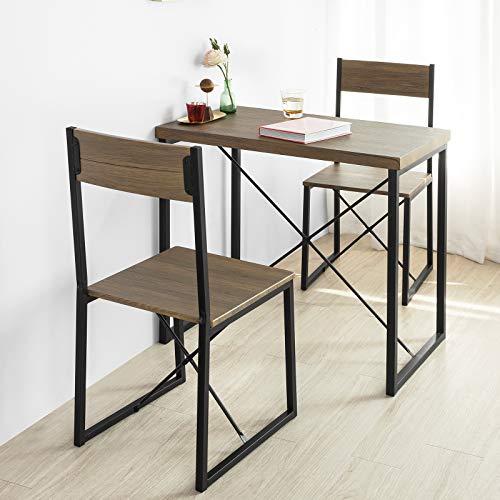 SoBuy OGT19-N 3-teilig Essgruppe Esstisch mit 2 Stühlen Sitzgruppe Küche Küchentisch Holztisch Balkontisch im Industrial-Look