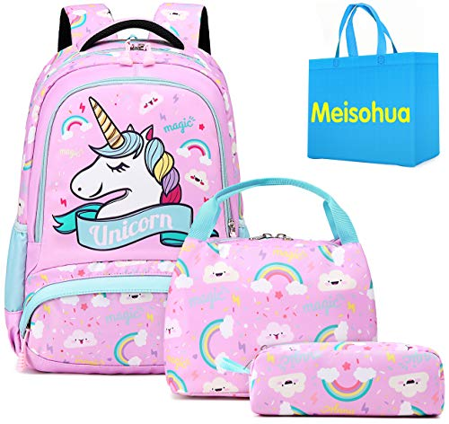 Meisohua Einhorn Rucksack Mädchen Schule - Leicht Schulrucksack Mädchen Wasserdicht Kinderrucksack für Mädchen Schultasche Damen Teenager mit Mittagessen-Beutel und Bleistift-Beutel - Pink Blue