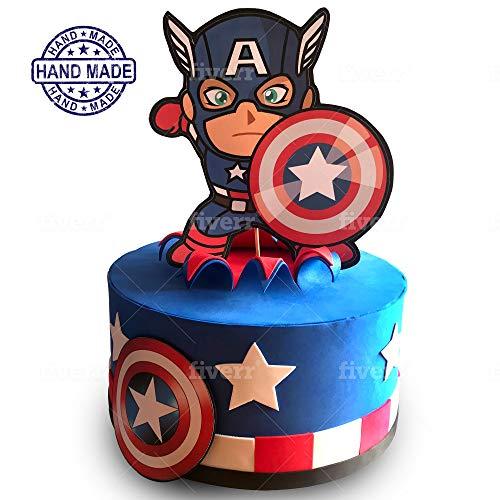 Tarta Falsa Cumpleaños, Capitan America Marvel. Tarta Artificial Infantil Decoración de Niño. Carton y Goma eva, 25-27cm Diametro, Original y Divertido. Home3d