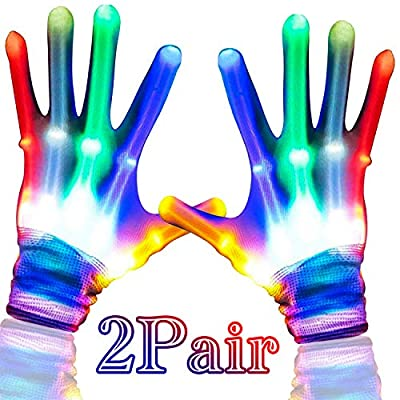 Camlinbo 2 Pair LED Gloves Toys for Boys Girls , Colorful Flashing Light Up Gloves Glow In The Dark Halloween Party Supplies Birthday Christmas Best Gift Ideas for Kids Adults
