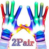 Camlinbo 2 Pair LED Light Up Gloves Rave Glow Gloves with 5 Colors 6 Modes Flashing Finger Gloves Toys for Kids Boys Girls Birthday Halloween Costume Glow in The Dark Party Supplies Toys Gift