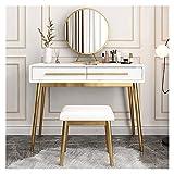 Mesa de Maquillaje Tocador Dormitorio pintura maquillaje Tabla Apartamento pequeño Mini vestir tabla de combinación de encendido LED Espejo de maquillaje + heces Belleza Tocador ( Color : White )
