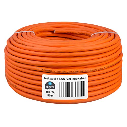 HB-DIGITAL - Cable de Red LAN (50 m, Cat. 7A, S/FTP, PIMF, LSZH, Libre de halógenos, RoHS, Cat7a, Cat. 7, Cable de Datos Ethernet, 10 Gbit, 1000 MHz, 10 GB)