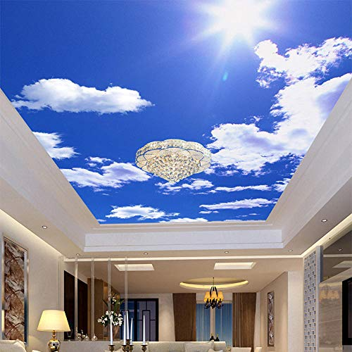 ZJfong Blauwe Hemel Witte Wolken Fotobehang Plafond Mural Hotel Eetkamer Woonkamer Fresco's Home Decor 3D 350 x 245 cm.