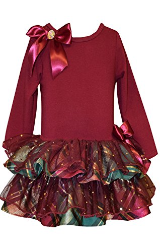 Bonnie Jean Girls' Christmas Holiday Santa Dress (3-6 Mothns, Burgundy)