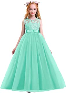 Big Girls Tulle Lace Princess Bowknot Dress Flower Girl Wedding Communion Evening Birthday Party Dress 4-14T